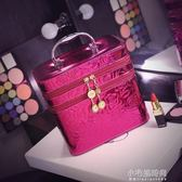 化妝包女大容量雙層帶鏡子亮面化妝箱手提化妝品收納包小號便攜『小宅妮時尚』