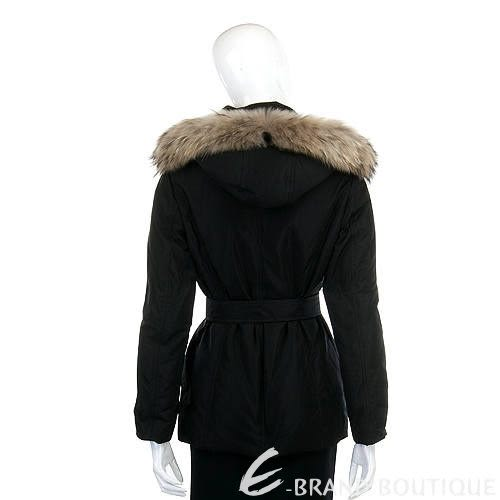 MARELLA 黑色皮草飾邊連帽外套(附腰帶) 1140263-01