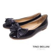 Tino Bellini 層次緞帶蝴蝶結小方頭娃娃鞋_ 黑 F83013