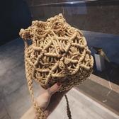 編織包包女新款麻繩鏤空水桶包休閒百搭子母草編包單肩斜挎包 【八折搶購】