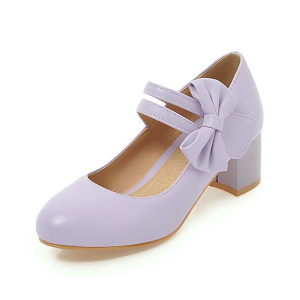 【Sp house】甜美蝴蝶結一字扣瑪莉珍跟鞋(優雅紫大人全尺碼)