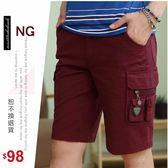 【大盤大】A857 男 NG無法退換 L XL 純棉五分褲 工作褲 水洗褲 夏 暗紅 休閒褲 口袋短褲 禮