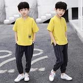 男童套裝 兒童裝男童夏裝套裝2021新款夏季棉麻中大童男孩短袖兩件套13歲潮【快速出貨】