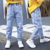 兒童牛仔褲男5歲男童褲子夏淺色薄款6中大童春裝煙灰色長褲帥氣12 快速出貨