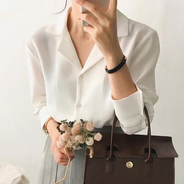 長袖襯衫 白色襯衫女秋冬正韓職業裝上衣設計感小眾長袖V領打底襯衣【快速出貨八五鉅惠】