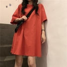 長款上衣 純色中長款短袖上衣女正韓港風學生寬鬆上衣服-Ballet朵朵