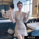 女裝2021新款潮氣質名媛V領小性感洋裝洋氣收腰顯瘦波點短【全館免運】
