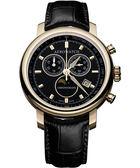 AEROWATCH Rhein 經典三眼計時腕錶-黑x金框 A84936RO01