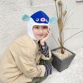韓國少女心童趣卡通河豚魚帽子頭套抖音搞怪賣萌自拍道具拍攝頭套