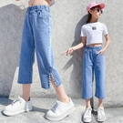 女童牛仔褲2021夏裝新款兒童中大童韓版寬鬆寬管褲夏季薄款七分褲 一米陽光