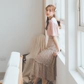 MUMU【P34613】粉花三層碎花雪紡半身裙