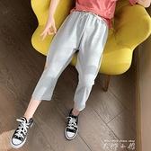 女童夏裝褲子兒童休閒褲薄款2021新款洋氣七分褲中大童夏季寬管褲 米娜小鋪
