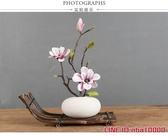 歐式小花瓶假花擺件家居裝飾品現代客廳電視櫃仿真玉蘭花擺設- JD CY潮流