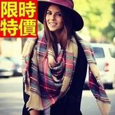 羊毛披肩-韓風經典格子拼色毛邊百搭女圍巾63ag42【巴黎精品】