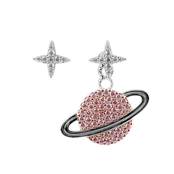 【APM Monaco】Wonderland系列不對稱星星與星球耳環(銀色/粉色) AE10559XORW