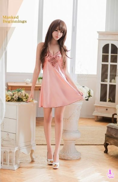 睡衣 性感睡衣 星光密碼【E108】甜心女孩粉紅緞面深V刺繡柔紗情趣性感睡衣