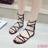 涼鞋 時尚綁帶簡約韓版百搭羅馬chic港味沙灘鞋子(2色/35-39)