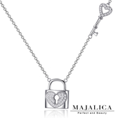 925純銀項鍊 Majalica 純銀飾「開啟心鎖」愛心鑰匙 鎖頭 附保證卡
