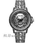 POLICE 搖滾硬漢骷髏造型腕錶-銀