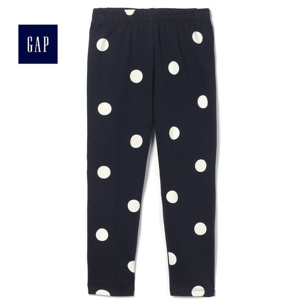 Gap女嬰幼童 印花彈力針織打底褲 436157-藍色圓點
