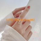 開口鋯石戒指女扇形小眾設計簡約食指尾戒輕奢裝飾【少女顏究院】