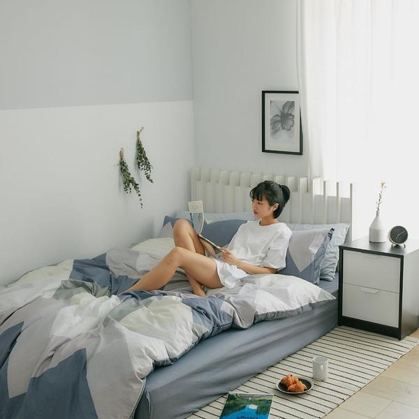 純棉 床包被套組(鋪棉被套) 雙人【斯奎爾德】ikea風 100%精梳棉 翔仔居家