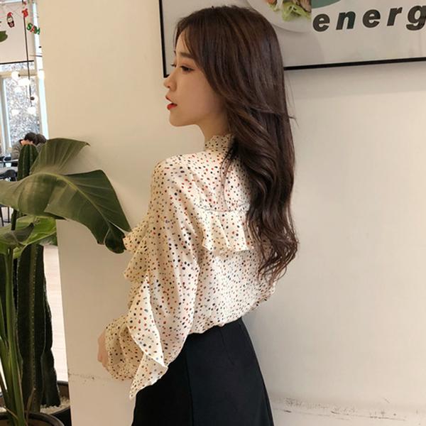 襯衫女初秋新款女裝韓版寬鬆系帶蝴蝶結長袖上衣荷葉邊碎花雪紡衫