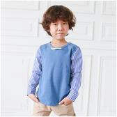 男童 韓版 小紳士 條紋 拼接袖 圓領 長袖 上衣 T恤 圓領T Augelute 50537