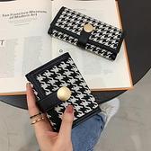 新款千鸟格帆布小钱包女短款撞色折叠零钱夹多卡位搭扣长款手拿包