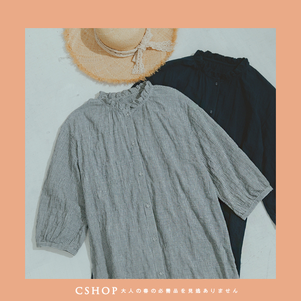 洋裝 大人系木耳領七分袖棉麻洋裝.罩衫 二色-小C館日系