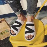 夏季情侶涼鞋男士百搭拖鞋韓版潮男鞋子學生沙灘鞋       伊芙莎