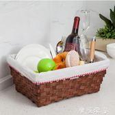 木片收納筐野餐籃子帶蓋手提籃田園編織雜物儲物盒布藝折疊水果籃 全館免運