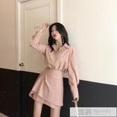 輕熟風套裝2019初秋新款氣質條紋長袖襯衫 高腰不規則半身裙女裝 韓慕精品