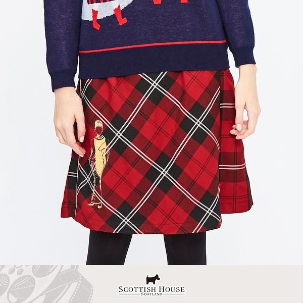 (紅黑格) 赫本人像蘇格蘭斜格裙 Scottish House 【AM2124】