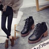 馬丁靴 新款女英倫風厚底短靴女粗跟百搭高跟鞋秋冬復古靴子女 df6532【大尺碼女王】