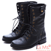 G.Ms. 牛皮2WAY綁帶反折中筒靴*黑色