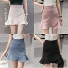 2020春夏新款半身裙女學院風荷葉邊短裙高腰a字魚尾裙不規則褲裙