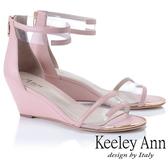 2019春夏_Keeley Ann時尚膠片 一字帶金屬圓楦楔型涼鞋(粉紅色)-Ann系列