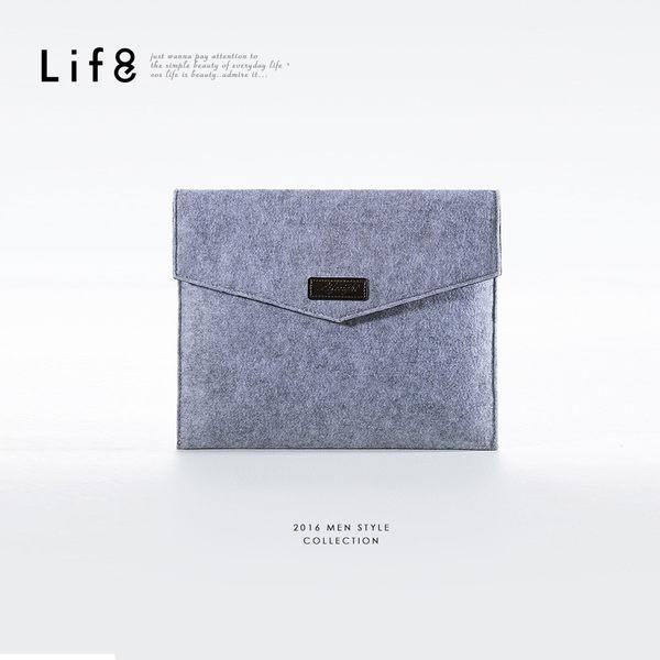 手感。毛氈質感手拿包-灰色【06333】