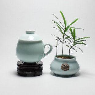 龍泉青瓷 弟窯茶杯陶瓷帶蓋