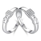 韓版鍍銀開口情侶對戒 鎖心鎖愛熱銷款活口戒指 飾品《小師妹》ps528