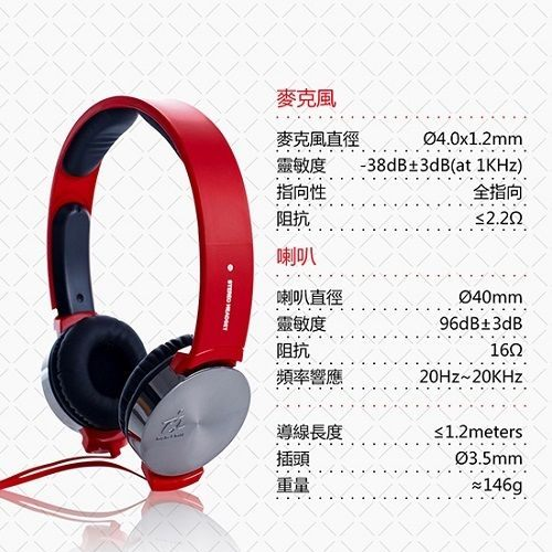 【i2】VIBRATE 線控耳罩式耳機 搖滾紅 C/P值超高 店長大力推薦
