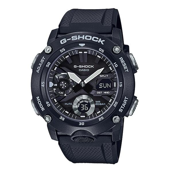 CASIO 卡西歐手錶專賣店 GA-2000S-1A 男錶 G-SHOCK 極簡三眼雙顯錶 樹脂錶帶 簡黑 防水200米
