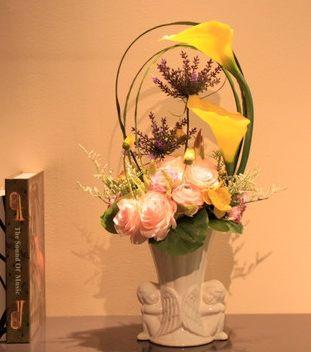 仿真花玫瑰陶瓷天使花器花瓶套裝插花 海芋馬蹄蓮花藝家居擺放-wojia721