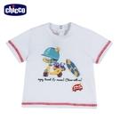 chicco-衝浪小熊-印圖短袖上衣-白