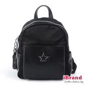【iBrand】簡約真皮STAR口袋後背包-黑 SPL-8060-BK