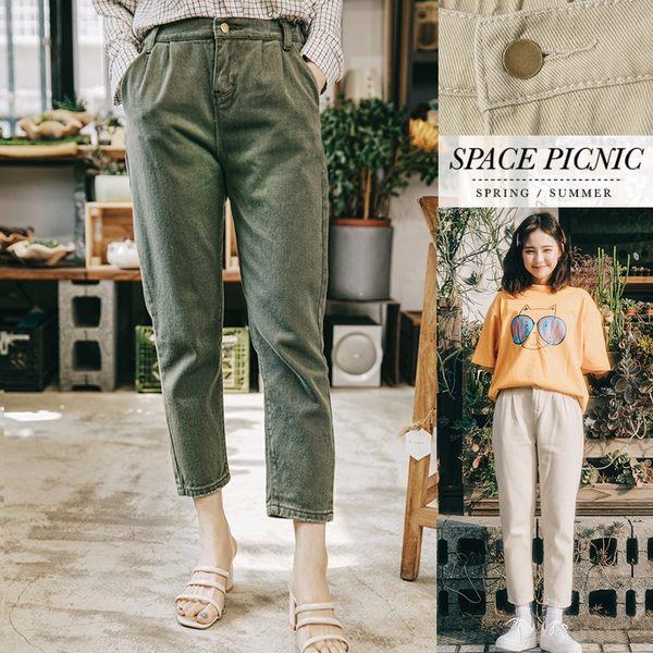 長褲 Space Picnic|背後口袋抓破素面雙口袋長褲(現+預)【C19012000】