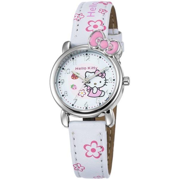 【HELLO KITTY】凱蒂貓俏皮寶貝蝴蝶結手錶 (白 KT008LWPW-1)