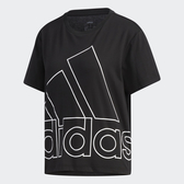 Adidas 女款黑色男友風大LOGO短袖上衣-NO.GK3330