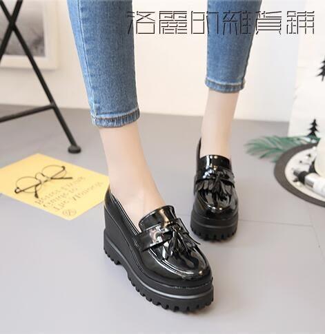 鬆糕小皮鞋女套腳百搭學生高跟女鞋